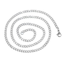 LASPERAL 1PC Stainless Steel Cuban Curb Chain Necklace Silver Tone Long Necklace Jewelry Making Supplies DIY Findings 1.8mm 52cm