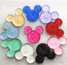 Mix Colors 50pcs/lot 33*30mm very cute resin bling Mickey mouse flatback cabochon DIY crafts scrapbooking