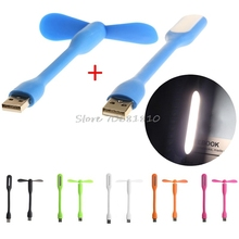 Flexible USB Fan USB LED Light Lamp For Laptop Notebook PC Power Bank Drop shipping(China)
