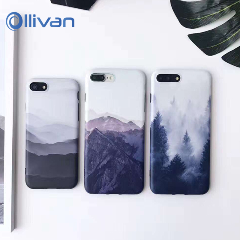 6s Phone Cases Iphone 7 Case Cover Vintage Landscape Painting TPU Capinha Cases Iphone 6 6S 7 8 Plus Scenery Capa