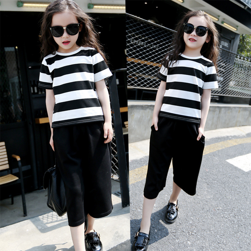 2016 Baby Girl Sets Striped Print T Shirt + Wide Leg Loose Casual Pants Two pieces Kids Girls Suits Children Clothes E1064<br><br>Aliexpress