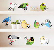 DIY Wall Stickers Birds Playing Soccer Ball Football Animal Decal For Kids Sport Boy Rooms Bedroom Nursery Art  Removable