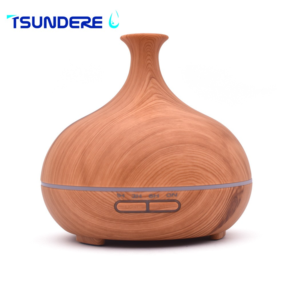 TSUNDERE L Aroma Diffuser Air Humidifier Essential Oil Diffuser Aromatherapy Ultrasonic Humidifier Mist Maker Wood Grain 300ml<br>