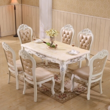 dining table natural marble 1.5m table set with 6 chairs(China)