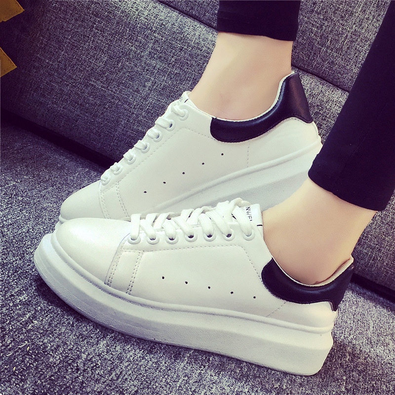 Free shipping spring/autumn womens casual low heel white shoes comfortable all match platform lace up board shoes <br><br>Aliexpress