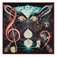 130cm*130cm Women 2017 New Fashion Twill Silk Euro Angel Guitar Musical Note Staff Printed Square Scarf Hot Sale Femal Shawl