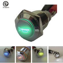 EE support 12V 16mm Universal Car LED Momentary Horn Push Button Metal Switch Speaker Car Styling 5 colors