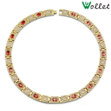 Wollet Jewelry High Quality Health Red Zircon Gold Color Bio Magnetic Titanium Necklace for Men Women African Jewelry Gifts(China)