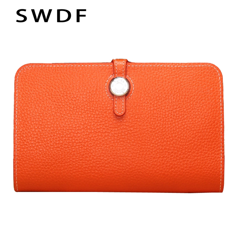 SWDF Genuine Leather Women Wallet 2017 Female Designer Wallets Famous Brand Women Clutch Wallet Ladies Leather Purse Money Bag<br>