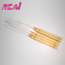 12 pcs/lot Hair Extensions Threader Pulling Needle for Micro Beads Loop Hair Tools, Wooden Handle+Stainless Steel Wire(China)