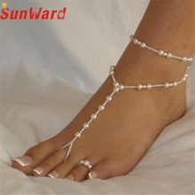 Delicate Fashion Simple Womens Beach Imitation Pearl Barefoot Sandal Foot Jewelry Anklet Chain Cadena de Anklet 2017 Oct19(China)