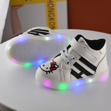 12.5-18.5 cm children flat heel fashion spring autumn kids LED lights hello kitty cute girls casual shoes leather menina sapatos(China)