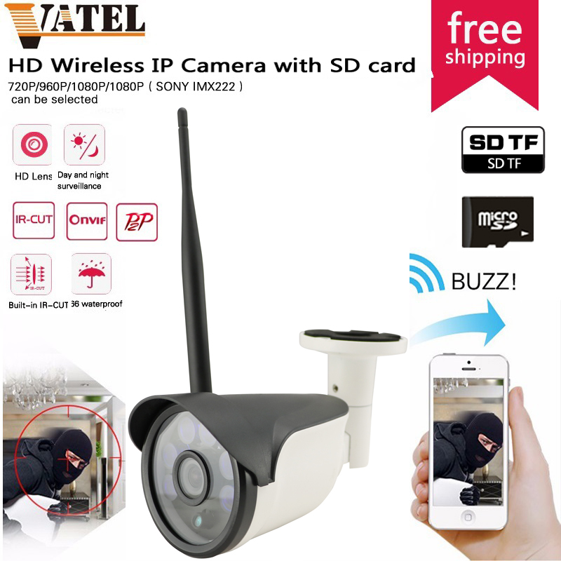 64GB SD TF Card Bullet  Wireless IP Camera wifi camera SONY322 Onvif Waterproof Network Surveillance CCTV camera wifi System<br><br>Aliexpress