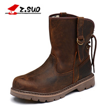 2017 Z.suo Genuine Leather Men Boots Vintage Motorcycle Boots Men Brown High Quality 39-44