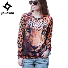 1422 Youaxon Winter Autumn Fashion Thicken Animal Leopard Tiger 3D Print Long Sleeve Hoodies for Women a+ Sweatshirt