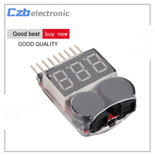 New 1-8S Lipo Li-ion Fe Battery Voltage 2IN1 Indicator Tester Low Voltage Buzzer Alarm For RC Car Boat LED 3.7-30V Dual Speaker