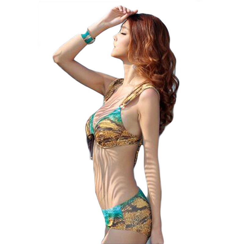 2017  Women Three Pieces Bikini Set Stylish Swimwear Print Colorful Bikini Beach Wear Push Padded Biquini Trajes De Bano DA884<br><br>Aliexpress