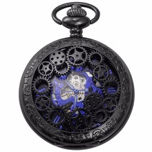 Fashion Blue Analog Hollow Case Men Mechanical Movement Pocket Watch With Long Chain Steampunk Hand Winding Clock Gift / WPK219