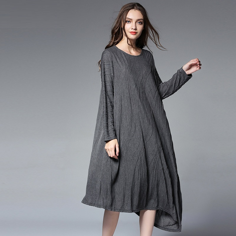 2017New Autumn Women jacquard loose Fit long Dress elegant asymmetrical knitted dress juniors casual dress plus size XXXXL 6629Îäåæäà è àêñåññóàðû<br><br>