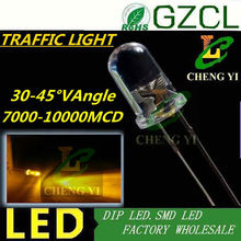 High quality 5mm traffic light led diode 7000-10000MCD amber/yellow dip led Epistar chip(CE&Rosh)