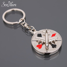 SexeMara Russian roulette keychain plane rotation key ring creative aircraft compass key chain gifts for friends