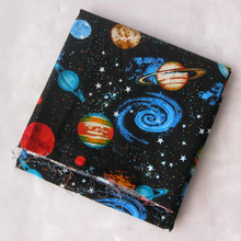 Width 105cm 100% Cotton Fabric Black Universe Space Galaxy Printed Fabric Patchwork Sewing Material For Diy Children's Clothing