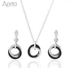 A&N New Silver Ceramic Jewelry Set For Women Black&White Double Circle Stereoscopic Delicate Wedding Stainless Steel Jewelry Set