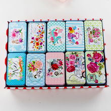 Big Flower Picture Mac Makeup Organizer 20Piece/Lot Beauty Rectangle Metal Box Best Treasure Chest Tea Box Wedding Fovar Gift