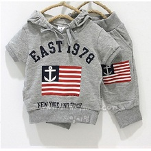 2016 Grey Sailor Flag Boys Sport Suit Kids Hooded Sweatshirts Pants Children Clothes Sets summer baby boys clothing