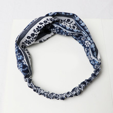Fashion Minority Style Blue And White Porcelain Pattern Comfortable Fabrics Cross Hair Bands Elasticity Female Headband(China)