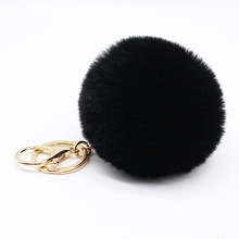 Big faux bunny Rabbit Fur Ball Keychain handBag Ring Plush porte clef Artificial fur PomPom key chain Ornament pom pom Pendant(China)