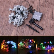 Linkax 50 LED Peach Blossoms Flower String Light Peach Flower Decorative Indoor Outdoor Garden Decoration Solar Light Strings