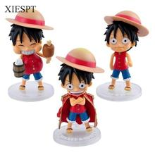 XIESPT 3pcs/lot One Piece Figures 3 Styles Q Version Luffy PVC Action Figure Toys Anime Model Collection Free Shipping