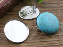 ( No Fade ) 10pcs 25mm Inner Size Stainless Steel Material Brooch Style Cabochon Base Cameo Setting Charms Pendant Tray (A5-18)