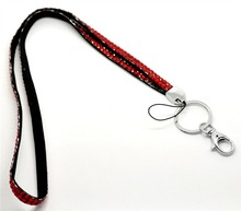 New Product 1pcs Red Color Bling Bling Lanyard Crystal Rhinestone Lanyard in Neck with Claw Clasp For ID Badge Holder
