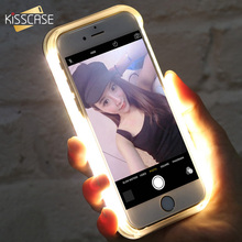 KISSCASE LED Flash Selfie Light Case For iPhone 7 6S 6 Plus 5 5S Cases For Samsung Galaxy S6 S6 Edge S7 S7 Edge Shells Cover