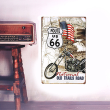 European Retro style sign board ROUTE 66 metal Wall stickers iron crafts picture Furnishing articles painting draw bar house