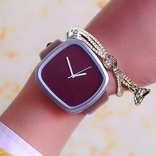 2017 Gift cool colour Minimalist style wristwatch creative design square face simple stylish with quartz fashion watch(China)