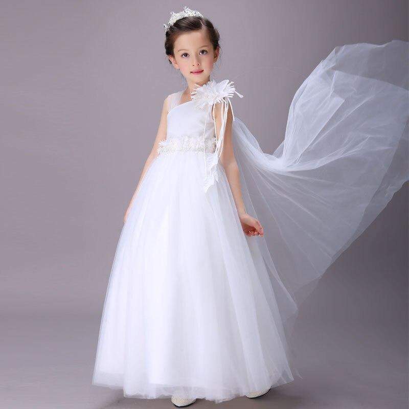 2017 New White Princess Dress Children Sleeveless Dress Embroidered Wedding Floor Length Dresses Girls Party Dress Kids Elegant<br>