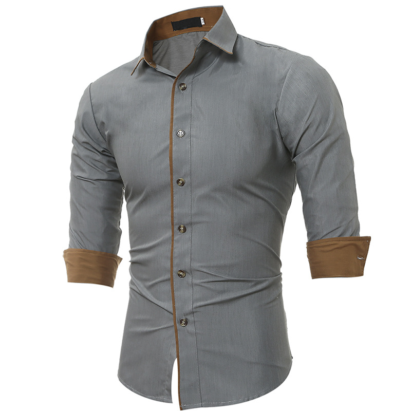 Men's Shirt Spring and Autumn New Classic Color Matching Shirt Men's Casual Slim Long Sleeve Shirt