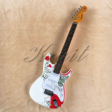 Krait factory stratocaster 6 string   electric guitar beautiful body water transfer printing guitar free shipping