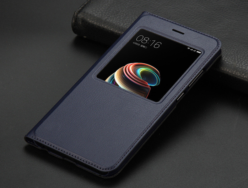 view quick answer open window leather flip case for xiaomi mi A1 mi 5x   13