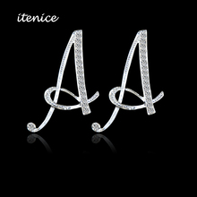 2017 New Design Classic 26 Letters Stud Earrings Fashion Jewelry For Women Crystal Rhinestone Push Back Trendy(China)