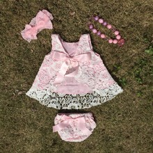 2016 new sleeveless baby girl lace swing tops set rompers lace baby girl summer style swing set baby clothing baby girl outfits(China)