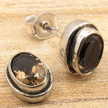 SIMPLE Stud Earrings 3/8 inches Natural SMOKY Quarts Gem Silver Plated Jewelry
