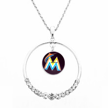 Necklace Women Necklace Pendants with chain all team MLB Florida Marlins Football Fans Gifts round top CZ crystal necklace(China)