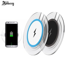Abbery Wireless Charger Pad for galaxy Samsung S6 S7 S8 Note 5 Note 8 Wireless Charger Qi Charging Stand Non-contact Charge Pad(China)