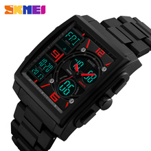 Full Stell Sport Watch Men LED Digital Wrist Watch Multiple Time Zone Top Brand Waterproof Electronic Clock Relogio Masculino(China)