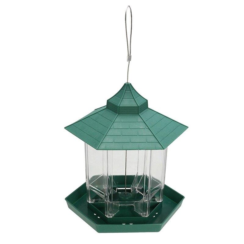 1pc Waterproof Bird Feeder Hanging Gazebo Wild Bird Feeder Feeding Tool Plastic for Outdoor Garden Decoration