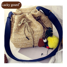 LUCKY GOURD  2017 New Women Bucket High Quality Straw Bag Fashion Beach bags Woven bags Female Bag Messenger Bags Casual  Z792